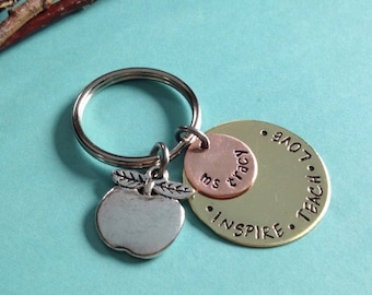 SPECiAL PRiCE- We Love Teachers Keychain- Hand-Stamped Personalized Gift- Apple Charm