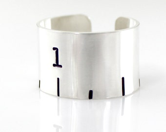 Hand stamped sterling silver cuff ring - Ruler cuff ring - ruler
