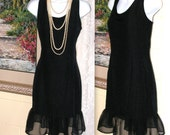 Vintage Little Black Dress - Cocktail Dress - Chiffon Ruffle - Sleeveless - Scoop Neckline - Mod Sixties