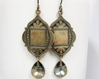 Arabian Antique Brass and Bronze Swarovski Crystal Earrings
