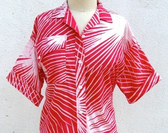 1980s New Wave Batik Blouse // Hot Pink // West Indies