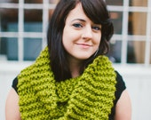 Extra Long Citron Green Infinity Scarf // Knit Double Wrap Bright Green Infinity // Wrap Scarf in Lime Green