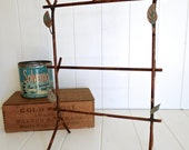 Brooke - 2 layer necklace bracelet earring rack stand with birds- Hand Painted vintage custom copper bronze