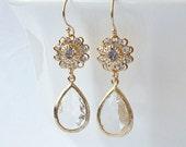Clear Crystal Drop Earrings Valentine