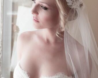 Lace Juliet Bridal Cap Wedding Veil, Alencon Lace, Juliet Tulle Veil, Lace Bridal Cap, 1920's Veil, Ivory Lace Veil, Cathedral Veil #1103