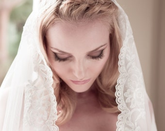 Wedding Veil Alencon Lace Juliet Cap, English Net and Full Floral Lace Bridal Cap, Fingertip, Waltz, Chapel, Cathedral, Style: Bryony #1432