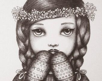 Winter Berries - Original Pencil Drawing