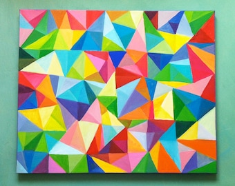 Triangles / Abstract Painting 24x20 -acrylic Painting / Colored Triangles - blue red yellow green pink orange Colors Mosaic