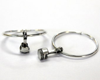 Tiny Sterling Silver Piston and Rod Hoop Earrings 300