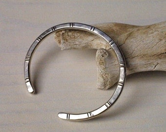 Simple Striped Mens Cuff Bracelet in Sterling Silver