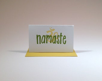 Namaste-- folded gift enclosure, Moss Green and Curry Yellow
