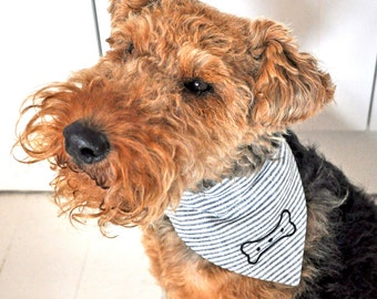 Bone Neckerchief - Grey Stripe