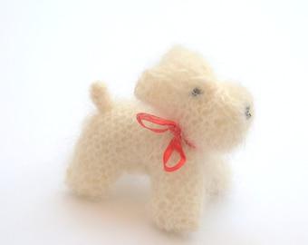 Knitted dog White Scotty terrier or shih tzu ornament child room nursery decor eco friendly gift birthday