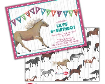 Girl's HORSE PONY PALOMINO Equestrian Lover Printable Birthday Party Invitation Realistic Customizable Bright Colors Printing Available
