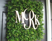 Square Monogram Boxwood Wreath, Boxwood Monogram Wreath, Outdoor Spring Wreath, Housewarming Gift, Wedding Wreath 20 INCH shown