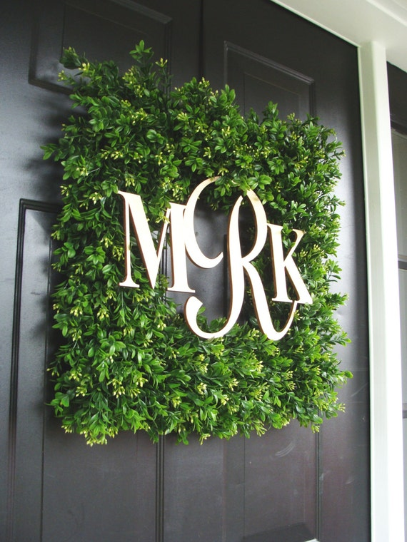 Square Monogram Boxwood Wreath Boxwood Monogram Wreath