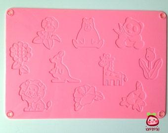 Clay Stamp, stamps, polyclay, polymer clay, animal, flower, cartoon, sunflower, bear, cute, kawaii, pink, kid, children, craft, kangaroo