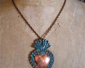 """LG. SACRED HEART Intricate Copper Milagro Necklace- Perfect gift for the one you love- 2.75"""""""