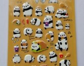Cute Panda Bear Puffy Korean Stickers - Hamburger, Sandwich, Sausage, Fries, Chicken Drumstick, Coke