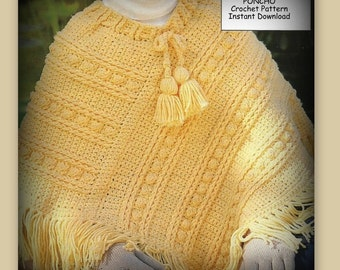 Crochet Poncho Pattern - Girls Size 8 to 12 - PDF 02151238 - Aran Crochet - Instant Download Pattern
