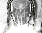 Early Victorian Style Bridal Pearl Tiara with Skulls & Chains