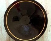 SALE Vintage Black Glass Art Deco Bowl with Gold Stripe