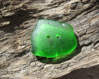Large BEACH Glass BUTTONS Drilled Beach Glass GREEN Sea Glass Buttons