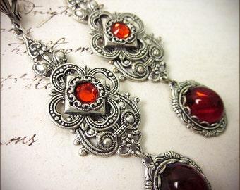 Red Ruby Renaissance Earrings, Borgias, Medieval Jewelry, Tudor Garb, Bridesmaid, Ren Faire Wedding, Victorian Bride, Queen, Avalon