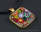 Abstract Murano Millefiori Mosaic - Wearable Art - Pendant Necklace