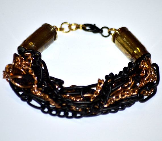 Upcycled Black and Gold Chain and Bullet Casing Bracelet