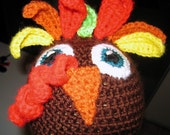 Adorable Turkey Hat with Earflaps in Autumn Colors