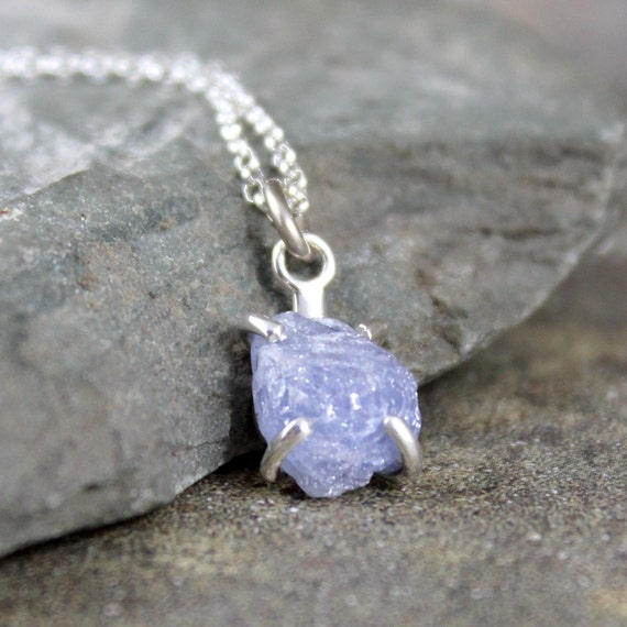 Uncut Raw Rough Denim Blue Sapphire Pendant by ASecondTime ...Unpolished Sapphire Necklace