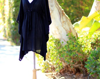 Mini Caftan Dress - Beach Cover Up Kaftan in Black Cotton Gauze - 20 Colors