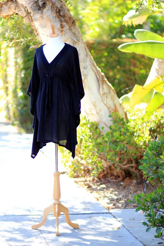 Mini Caftan Dress - Beach Cover Up Kaftan in Black Cotton Gauze - 20 Colors