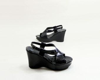 Black Sandal Size 11, Vintage 90s Platform, Wedge Sandal, Black Platform, Patent Leather, Made in Italy, size 11, Euro 43