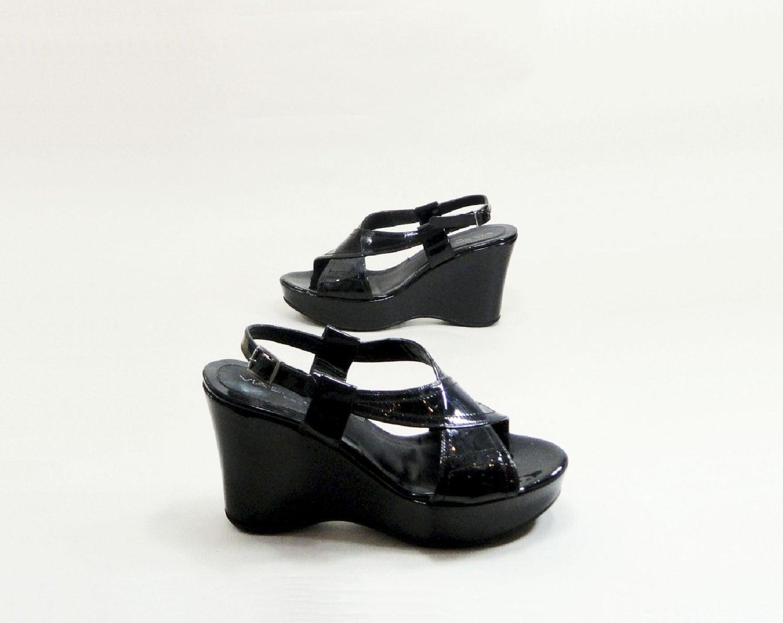 vintage platform shoes size 11 black patent leather 43