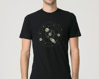 Glow in the Dark Solar System Shirt for Men, black with metallic ink, stars and planets, space and science tshirt, rad awesome adult gift