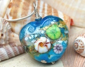 Cerulean Blue and Turquoise Oceana Lampwork Heart Pendant