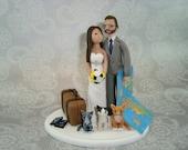Customized Travel Theme Wedding Cake Topper