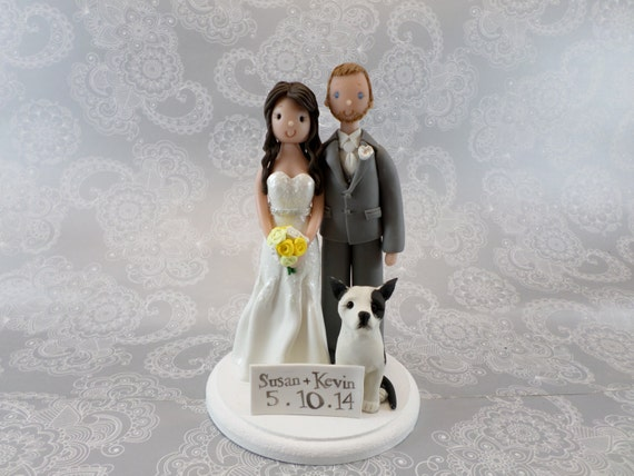 wedding cake toppers bride groom and dog cake topper customized amp groom with a by mudcards 26422