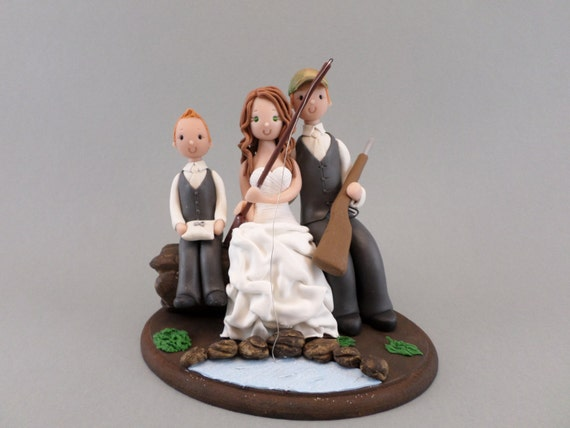 hunting themed wedding cake toppers customized outdoor fishing theme wedding cake topper 16212