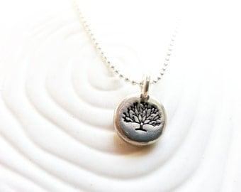 Tree Necklace - Winter Tree - Barren Tree Necklace - Hand Stamped Personalized Family Tree Jewelry