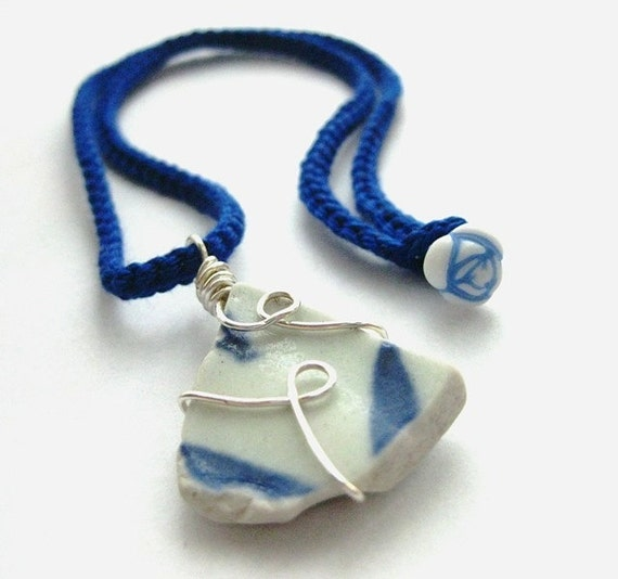 Irish Sea Pottery Pendant. Dazzling Blue Porcelain Necklace. Sea Bird
