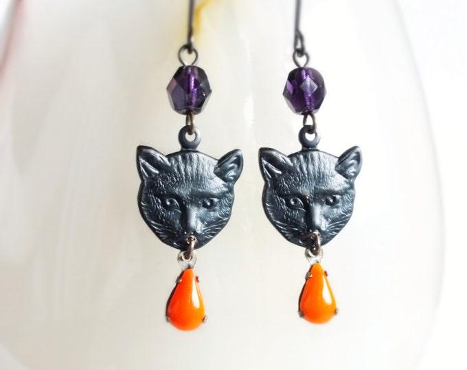 Black Cat Dangle Earrings Vintage Style Cat Charm Dangles Black Cat Halloween Earrings Cat Jewelry