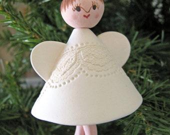Brunette Angel Bell Ornament