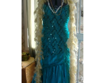 Mermaid sequin dress from vintage fishtail 80's costume crown beads