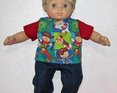 Bitty Baby American Girl Boy Doll Clothes Colorful Cowboy Pirate Space Man Jean Set  and  Tennis Shoes Perfect for summer and spring