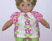 Bitty Baby American Girl Doll Clothes Hello Kitty  Print Pajamas 15 inch Doll Pinks and Greens