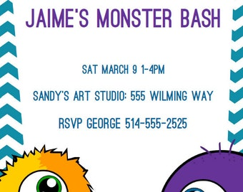 Instant Download EDITABLE Monster Birthday Invitations and Thank You Cards PRINTABLE Party, Edit it yourself with Adobe Reader