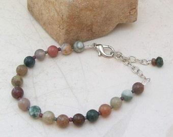 Gaia Fancy Jasper Bracelet -Handmade OOAK - Adjustable Size, Free US Shipping, Gift for Men or Women- Metaphysical Healing Crystal Jewelry